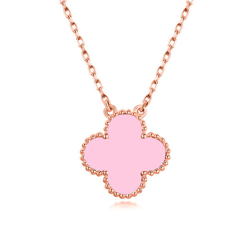alhambra or rose replique van cleef & arpels pink mother-of-pearl pendentif