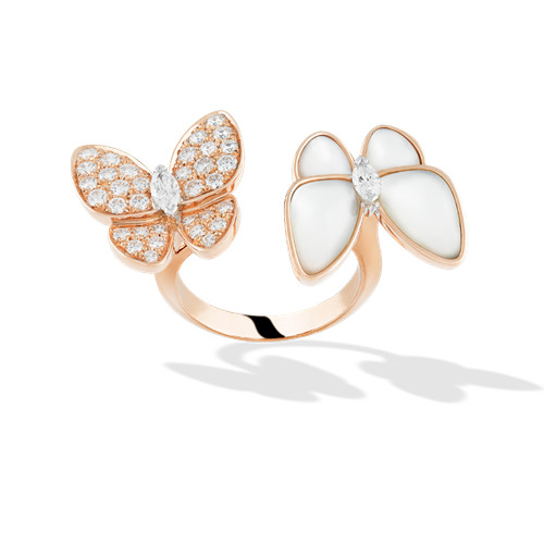 between the finger oro rosa imitazione van cleef & arpels white mother-of-pearl anello - Clicca l'immagine per chiudere