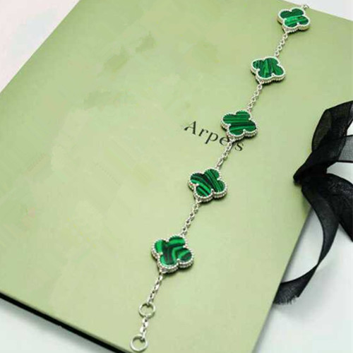 alhambra or blanc replique van cleef & arpels malachite bracelet