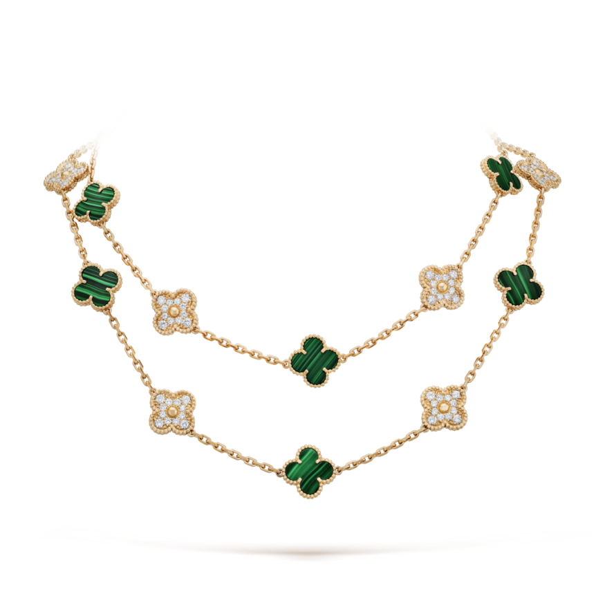 alhambra oro giallo replica van cleef & arpels malachite round diamante lunga collana