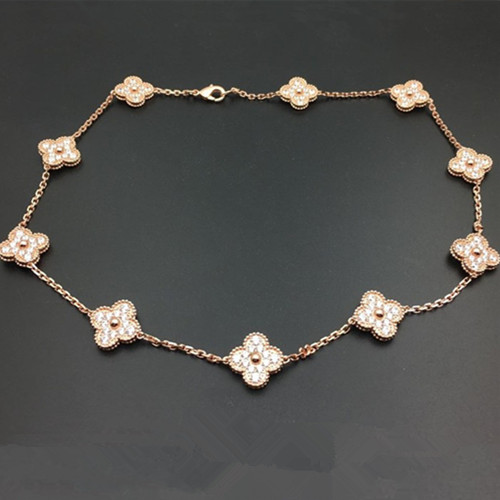 alhambra or rose faux van cleef & arpels round Diamants collier