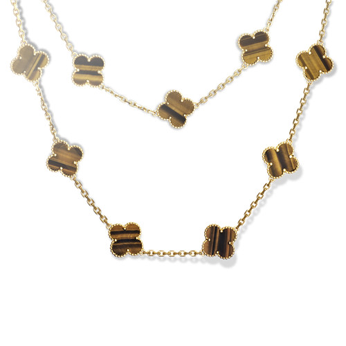 alhambra yellow gold replica van cleef & arpels tiger's eye long necklace
