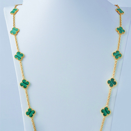 alhambra or rose copie van cleef & arpels malachite long collier