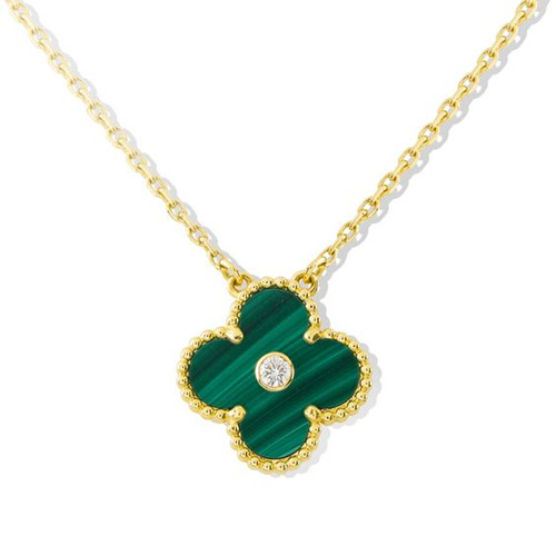alhambra or jaune copie van cleef & arpels malachite round diamond pendentif