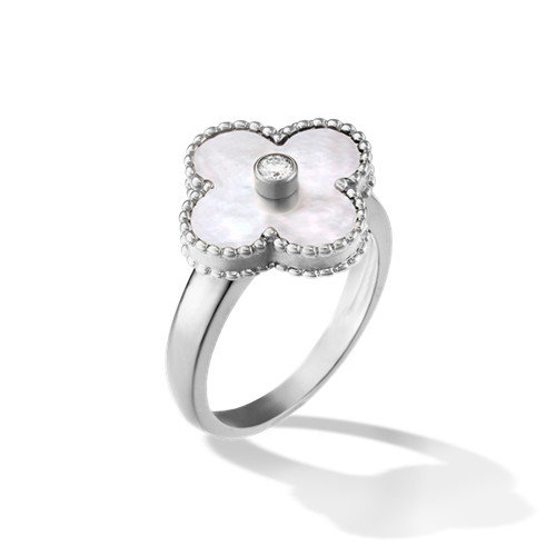 alhambra oro bianco imitazione van cleef & arpels white mother-of-pearl anello