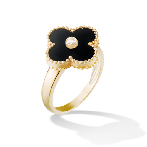 alhambra gelbgold replik van cleef & arpels onyx with round diamond ring