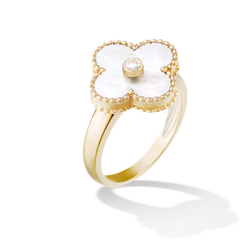 alhambra oro giallo imitazione van cleef & arpels white mother-of-pearl anello