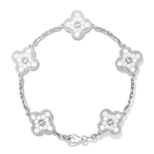 alhambra or blanc faux van cleef & arpels round Diamants bracelet