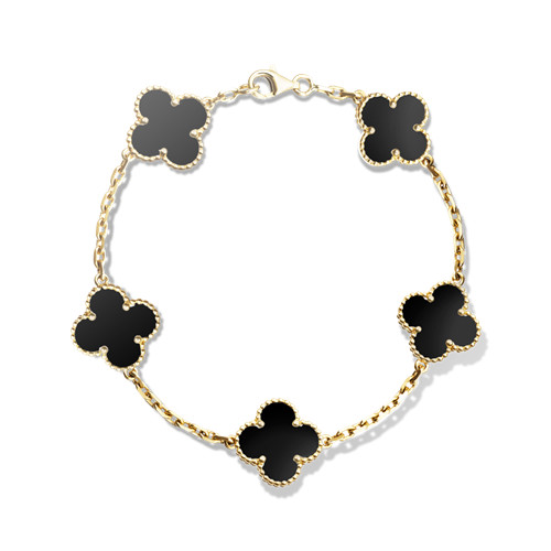 alhambra yellow gold fake van cleef & arpels onyx bracelet