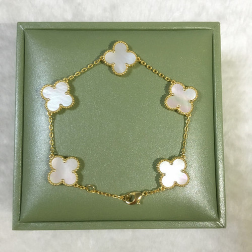 alhambra oro giallo imitazione van cleef & arpels white mother-of-pearl bracciale