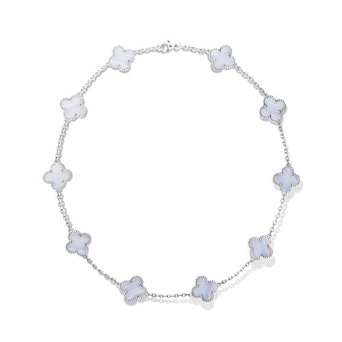 alhambra white gold fake van cleef & arpels chalcedony necklace