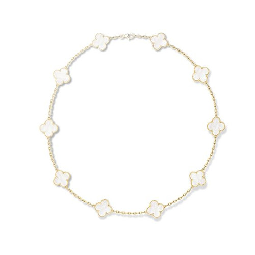 alhambra yellow gold replica van cleef & arpels white mother-of-pearl necklace