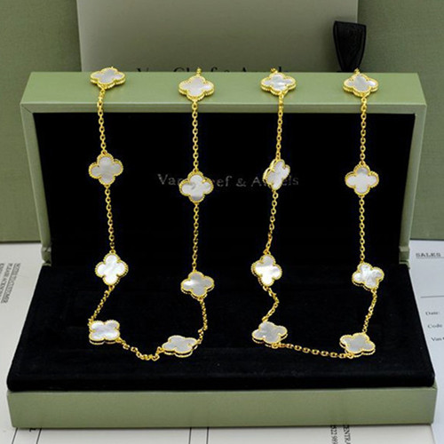 alhambra oro giallo replica van cleef & arpels white mother-of-pearl lunga collana