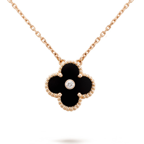 alhambra rotgold replika van cleef & arpels onyx round diamond anhänger
