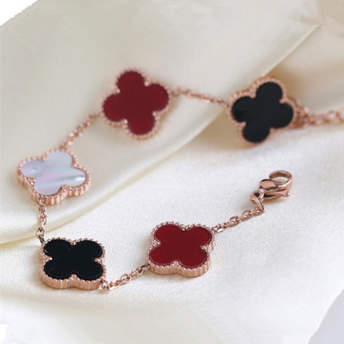 alhambra pink gold replica van cleef & arpels carnelian onyx white mother-of-pearl bracelet