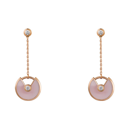 amulette de cartier copy pink gold earring Pink Opal inlaid 4 diamonds B8301231