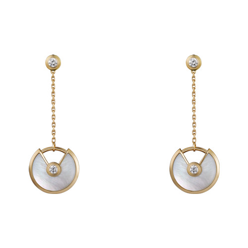 amulette de cartier fake yellow gold earring white mother-of-pearl inlaid 4 diamonds B8301229