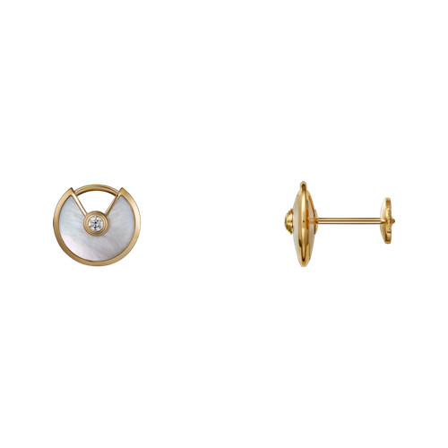 amulette de cartier replica yellow gold earring white mother-of-pearl inlaid with two diamonds B8301238