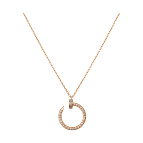 cartier copie Juste un clou Or rose Collier 36 diamants couverts Pendentif clou