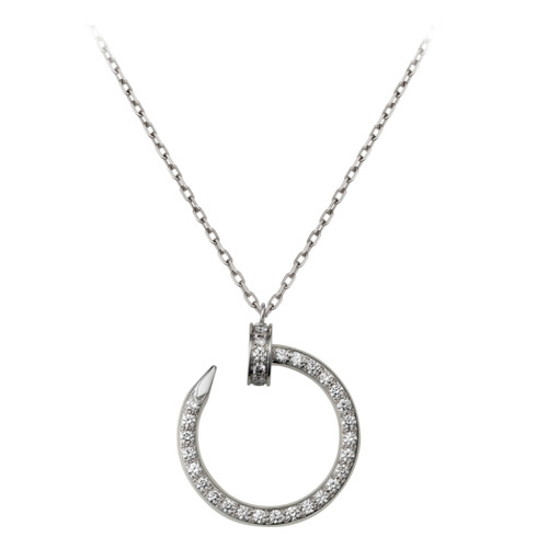 cartier fake juste un clou white gold necklace covered 36 diamonds nail pendant