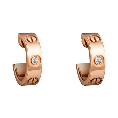 cartier copy love pink Gold earring inlaid with two diamonds B8301218