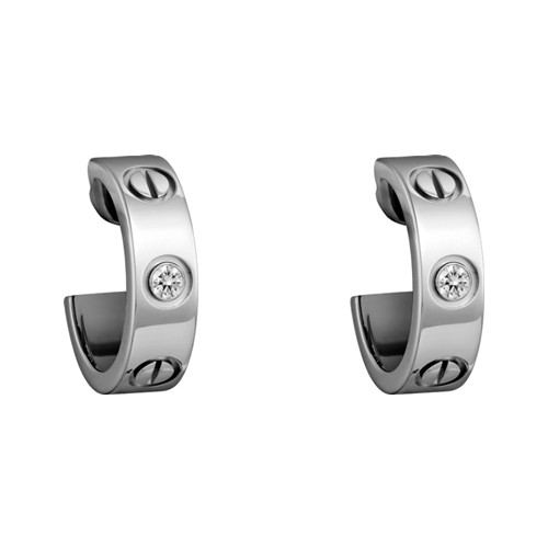 cartier faux love or blanc boucle d'oreille Incrusté de deux diamants B8022800
