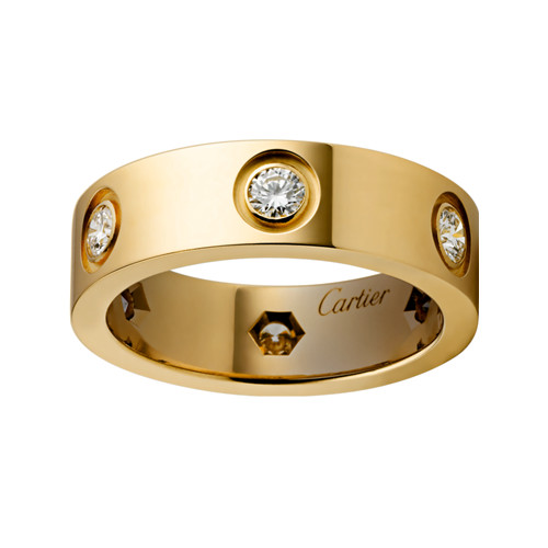 cartier replica love ring yellow gold 6 diamond wide version