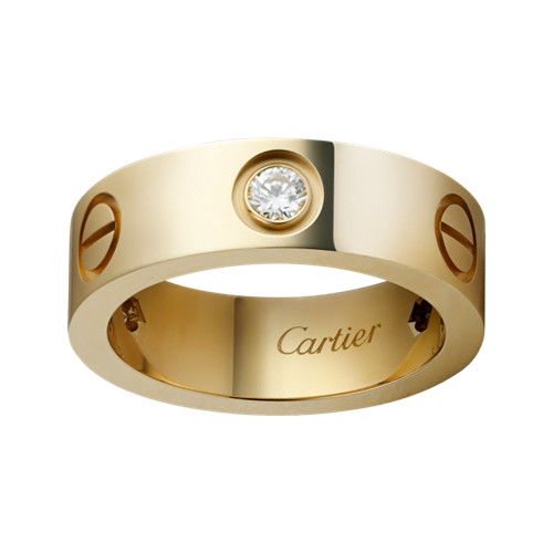 cartier Replik love gelbes Gold Ring Mosaik drei Diamanten Breite Version
