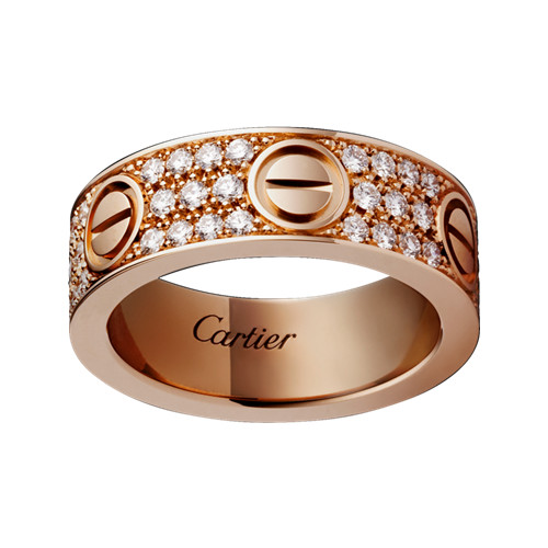 cartier copy love ring pink Gold covered diamond wide version