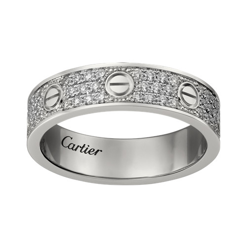 cartier replica love Weißes Gold Ring Bedeckter Diamant Schmale Version