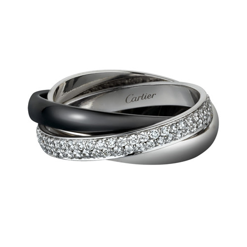 trinity de Cartier fake white gold ring precision ceramics covered diamond B4095500
