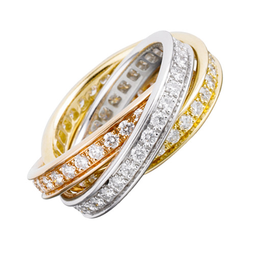 trinity de Cartier fake 3-gold ring 3 rings covered diamond B4075100