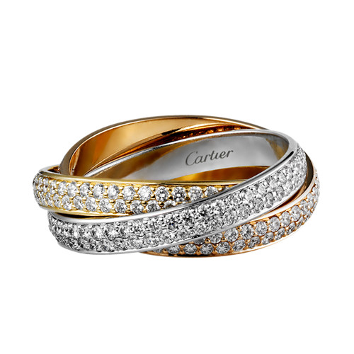 trinity de Cartier replica 3-gold ring 3 rings covered diamond N4227600