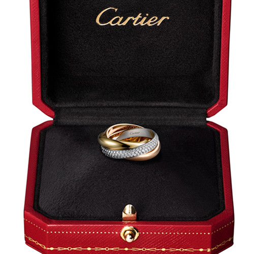 trinity de Cartier fake 3-gold ring covered diamond medium models B4038900