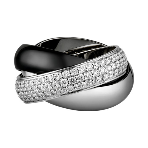 trinity de Cartier replica white gold ring covered diamond precision ceramics N4242700