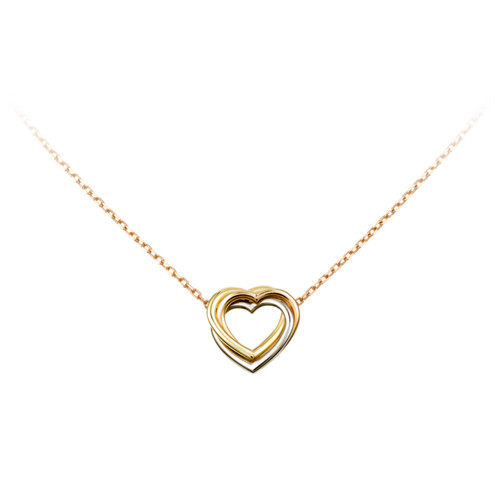 trinity de Cartier yellow gold necklace 3-gold heart pendant