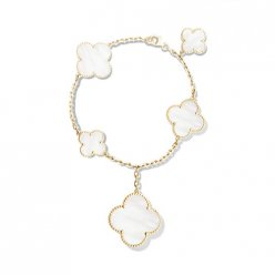 alhambra oro giallo replica van cleef & arpels white mother-of-pearl bracciale