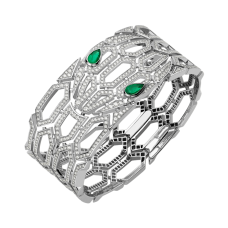Bvlgari Serpenti fake Bracelet white gold with emeralds and diamonds