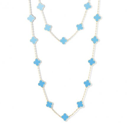 alhambra or jaune faux van cleef & arpels turquoise long collier