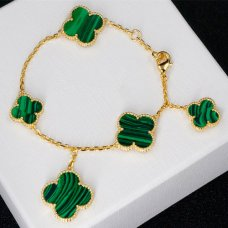 alhambra yellow gold replica van cleef & arpels malachite bracelet