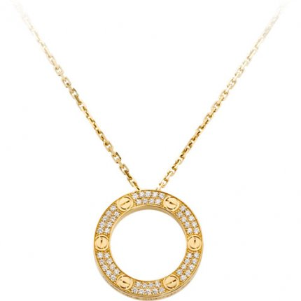 cartier fake love necklace yellow gold paved with diamonds pendant