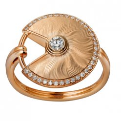 amulette de cartier replique Or rose bague mosaïque diamant B4217200