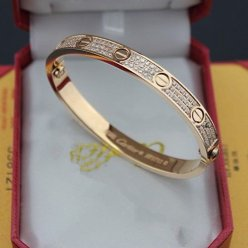 cartier copy love bracelet pink gold steel paved with diamonds