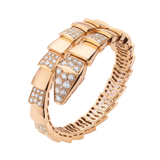 Bvlgari Serpenti fake Bracelet pink gold Single helix with diamonds