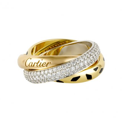 trinity de Cartier replica 3-gold ring leopard print covered diamond N4226500