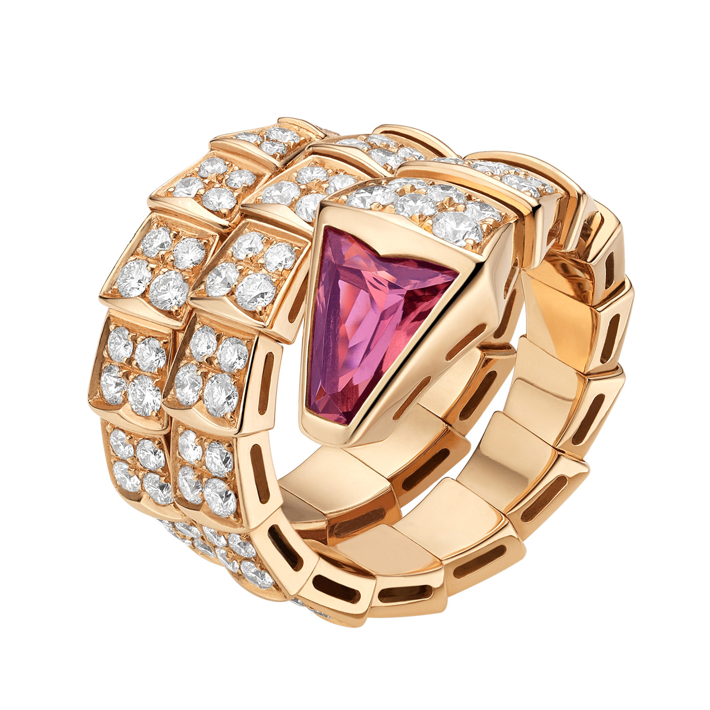 Bvlgari Serpenti replica ring pink gold double-spiral red tourmaline